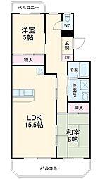 JR東北本線 久喜駅 徒歩9分の賃貸マンション 1階2LDKの間取り