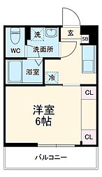 JR埼京線 与野本町駅 徒歩7分の賃貸マンション 1階1Kの間取り