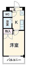 名鉄犬山線 徳重・名古屋芸大駅 徒歩7分の賃貸マンション 3階1Kの間取り