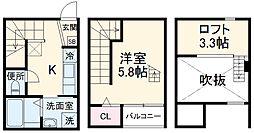 名古屋市営鶴舞線 原駅 徒歩9分の賃貸アパート 1階1Kの間取り