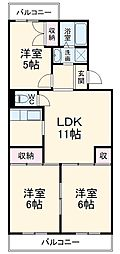 ハイツ山田 2階3LDKの間取り