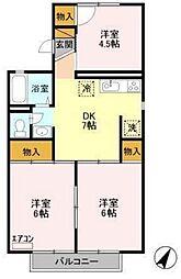 JR常磐線 土浦駅 徒歩10分の賃貸アパート 1階3DKの間取り