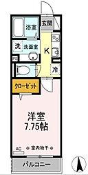 西武新宿線 花小金井駅 徒歩6分の賃貸アパート 1階1Kの間取り