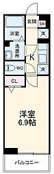 名古屋市営東山線 覚王山駅 徒歩15分の賃貸マンション 3階1Kの間取り