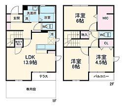JR鹿島線 鹿島神宮駅 バス72分 矢田部公民館下車 徒歩10分の賃貸テラスハウス 1階3LDKの間取り