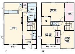 JR成田線 椎柴駅 4kmの賃貸テラスハウス 1階3LDKの間取り