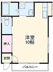 シャレル戸谷塚 1階ワンルームの間取り