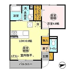 JR常磐線 水戸駅 バス20分 笠原町下車 徒歩10分の賃貸アパート 1階1LDKの間取り