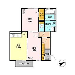 JR両毛線 山前駅 徒歩19分の賃貸アパート 2階2DKの間取り