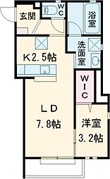 JR東北本線 宇都宮駅 バス11分 競輪場前下車 徒歩7分の賃貸アパート 2階1SKの間取り