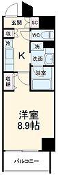 レジデンシア豊田桜町 4階1Kの間取り