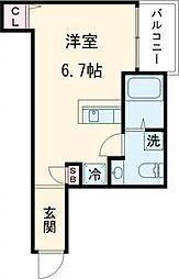東急大井町線 下神明駅 徒歩7分の賃貸アパート 2階ワンルームの間取り