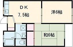 エスペランサ並木II 1階2DKの間取り