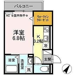静岡鉄道静岡清水線 柚木駅 徒歩7分の賃貸アパート 3階1Kの間取り