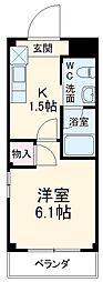 JR埼京線 北与野駅 徒歩7分の賃貸マンション 2階1Kの間取り