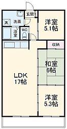 JR京浜東北・根岸線 大宮駅 徒歩18分の賃貸マンション 5階3LDKの間取り