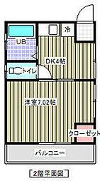 ハーモニー21 2階1Kの間取り