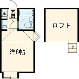 京王線 東府中駅 徒歩10分の賃貸アパート 1階ワンルームの間取り