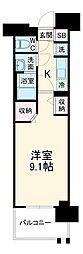 名古屋市営東山線 高畑駅 徒歩3分の賃貸マンション 6階1Kの間取り