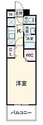 名古屋市営東山線 高畑駅 徒歩3分の賃貸マンション 7階1Kの間取り
