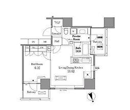 JR山手線 五反田駅 徒歩6分の賃貸マンション 5階1LDKの間取り