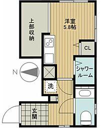 MOK.A-Osaki 1階1Kの間取り