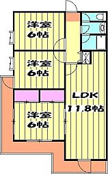 BULLアパートメント大宮 2階3LDKの間取り