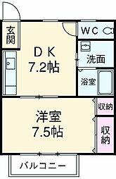 JR東海道本線 静岡駅 バス18分 下足洗下車 徒歩10分の賃貸アパート 2階1DKの間取り