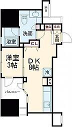 朝日マンション五反田 7階1DKの間取り