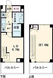 東急田園都市線 桜新町駅 徒歩8分の賃貸マンション 4階1LDKの間取り