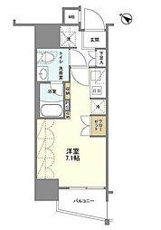 SIL西五反田 7階ワンルームの間取り