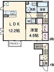 名鉄豊田線 浄水駅 徒歩8分の賃貸アパート 2階1LDKの間取り