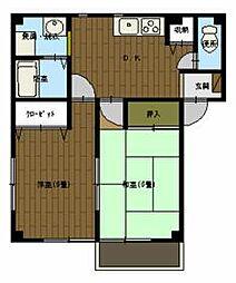 JR総武本線 佐倉駅 徒歩14分の賃貸アパート 1階2DKの間取り