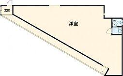 JR中央線 立川駅 徒歩15分の賃貸マンション 2階ワンルームの間取り