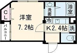 小田急小田原線 経堂駅 徒歩7分の賃貸マンション 3階1Kの間取り