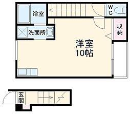 京都地下鉄東西線 太秦天神川駅 徒歩8分の賃貸アパート 2階ワンルームの間取り