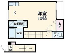 ランフォート天神川テラス 2階ワンルームの間取り