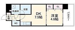 スプランディッド豊中南 9階1DKの間取り