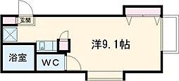 東武宇都宮線 東武宇都宮駅 徒歩11分の賃貸アパート 2階ワンルームの間取り
