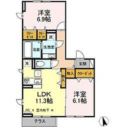 D-room西平山A棟 1階2LDKの間取り