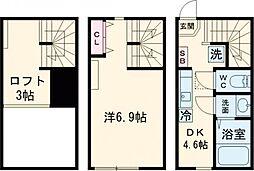 東急東横線 多摩川駅 徒歩12分の賃貸テラスハウス 1階1Kの間取り
