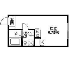 ザ バロン西新宿3116 3階ワンルームの間取り