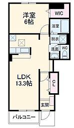 JR上越線 八木原駅 徒歩35分の賃貸アパート 1階1LDKの間取り