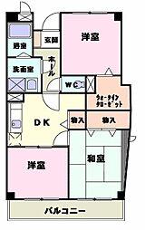 京成本線 公津の杜駅 徒歩6分の賃貸マンション 3階3DKの間取り