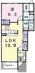 上毛電気鉄道 桐生球場前駅 徒歩15分の賃貸アパート 1階1LDKの間取り
