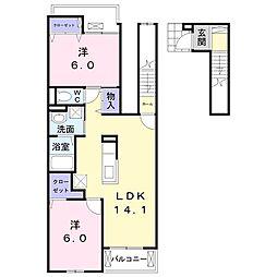 東武桐生線 新桐生駅 徒歩22分の賃貸アパート 2階2LDKの間取り
