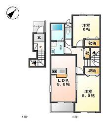 JR総武本線 八街駅 バス10分 文違下車 徒歩1分の賃貸アパート 2階2DKの間取り