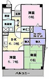 京成本線 公津の杜駅 徒歩6分の賃貸マンション 2階3DKの間取り