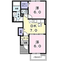 JR成田線 成田駅 バス18分 日吉倉下車 徒歩3分の賃貸アパート 1階2DKの間取り