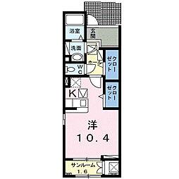 名鉄豊田線 黒笹駅 徒歩5分の賃貸アパート 1階1Kの間取り